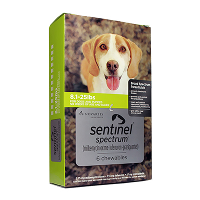 Sentinel Spectrum Chews For Dogs 8.1-25 Lbs Green 3 Chews