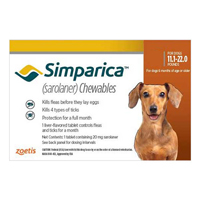 Simparica Chewables For Dogs 11.1-22 Lbs Brown 3 Pack