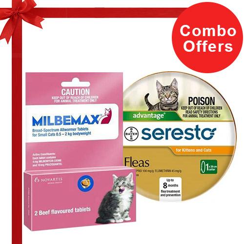 Seresto Cat Collar + Milbemax Cats Combo
