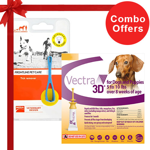 Vectra 3D + Frontline Pet Care Tick Remover Combo Pack